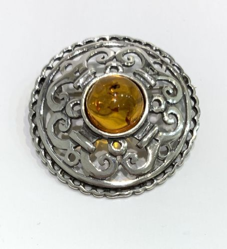 Sterling Silver | Round Celtic | Amber Brooch